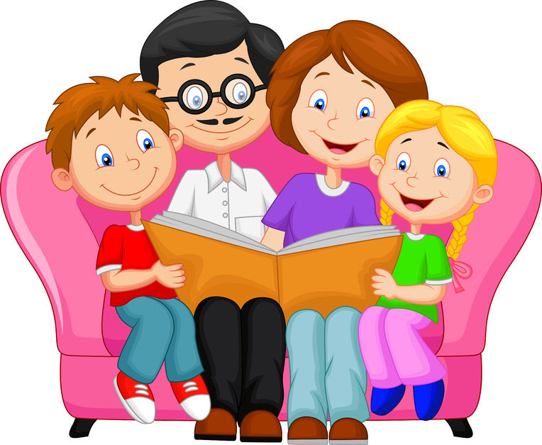 Семья за книгой рисунок
